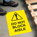 Seton 60338 Safety Floor Signs- Do Not Block Aisle (With Graphic)