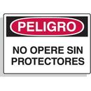 Seton 61036 Spanish Hazard Warning Labels - Peligro No Opere Sin Protectores