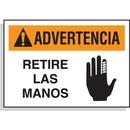 Seton 61045 Spanish Hazard Warning Labels - Advertencia Retire Las Manos