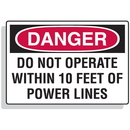 Seton 62326 Lockout Hazard Warning Labels- Do Not Operate Within 10 Feet Of Power Lines