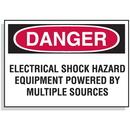 Seton 62328 Lockout Hazard Warning Labels- Electrical Shock Hazard Equipment Powered By Multiple Sources