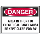 """Seton 62330 Lockout Hazard Warning Labels- Danger Area In Front Of Electrical Panel Must Be Kept Clear For 36"""""""