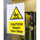Seton 62703 Double Faced Flanged Safety Signs - Caution Watch Your Step