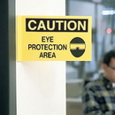 Seton 62711 3-Way View Safety Signs - Caution - Eye Protection Area