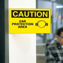 Seton 62714 3-Way View Safety Signs - Caution - Ear Protection Area