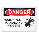 Seton 64703 Equipment Hazard Mini Safety Signs - Danger Watch Your Hands and Fingers