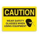 Seton 64708 Equipment Hazard Mini Safety Signs - Caution Wear Safety Glasses When Using Equipment