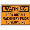 Seton 65405 Lockout Hazard Warning Labels- Lock Out All Machinery Prior To Servicing