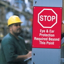 Seton 66480 Workplace Safety Stop Sign - Eye & Ear Protection