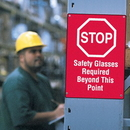 Seton 66486 Workplace Safety Stop Sign - Safety Glasses Required