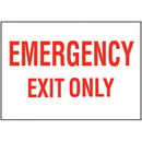 Seton 67433 Emergency Exit Only Self-Adhesive Vinyl  Exit Signs