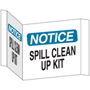 Seton 68219 3-Way View Spill Control Signs - Notice Spill Clean Up Kit