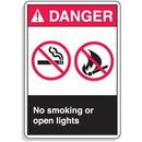 Seton 70564 ANSI Z535 Safety Signs - Danger No Smoking Or Open Lights