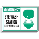 Seton 70644 Safety Alert Signs - Emergency - Eye Wash Station Keep Area Clean