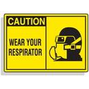 Seton 70655 Safety Alert Signs - Caution - Wear Your Respirator