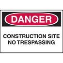 Seton 73509 OSHA Danger Signs - Construction Site No Trespassing