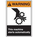 Seton 77641 ANSI Z535 Safety Labels - Warning This Machine Starts Automatically