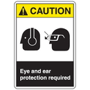 Seton 77910 ANSI Z535 Safety Labels - Caution Eye And Ear Protection Required
