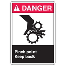 Seton 77911 ANSI Z535 Safety Labels - Danger Pinch Point Keep Back