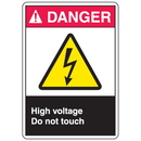 Seton 77916 ANSI Z535 Safety Labels - Danger High Voltage Do Not Touch