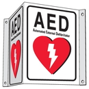 Seton 78465 3-Way Plastic AED Sign - Automated External Defibrillator