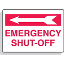 Seton 80337 Emergency Shut-Off with Left Arrow Aluminum Sprinkler Control Sign