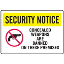 Seton 82453 Gun Prohibition Signs - Banned On Premises