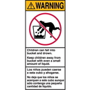 Seton 82992 Warning! Children Can Fall Into Bucket And Drown Shipping Labels
