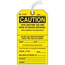 Seton 84601 Jumbo Cardstock Tear-Off Safety Tags - Caution Tag Attached Because