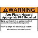 Seton 84620 NEC Arc Flash Protection Labels - Warning Arc Flash Hazard Appropriate PPE Required
