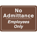 Seton Interior Decor Security Signs - No Admittance Employees Only