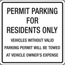 Seton 86281 Parking Permit Signs - Parking For Residents Only