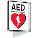 Seton 87561 2-Way View AED Sign - Automated External Defibrillator