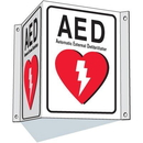 Seton 87564 3-Way View AED Sign - Automated External Defibrillator
