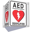 Seton 87565 3-Way View AED Sign - Alarm Will Sound If Opened