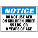 Seton 87574 AED Notice Label - Do Not Use AED On Children