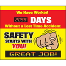 Seton LED Message Safety Scoreboard - Safety Starts With You - 88015