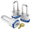 Master 88259 Master Lock Keyed Alike Padlock Sets With Colored Bumpers, Size: 3 Locks, Color: Blue