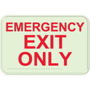 Seton 89435 Emergency Exit Only Sign - Braille Glow-In-The-Dark Signs