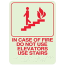 Seton 89439 In Case Of Fire Do Not Use Elevators Use Stairs- Braille Signs