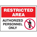 Seton 89780 Extra Large Restricted Area Signs - Authorized Personnel Only