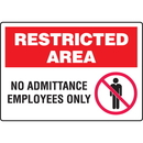 Seton 89783 Extra Large Restricted Area Signs - No Admittance Employees Only