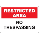 Seton 89784 Extra Large Restricted Area Signs - Restricted Area No Trespassing