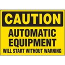 Seton 89872 Machine Hazard Warning Labels - Caution Equipment Starts Without Warning
