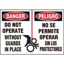 Seton 89882 Machine Hazard Warning Labels - Bilingual - Danger Do Not Operate Without Guards