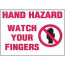 Seton 89894 Machine Hazard Warning Labels - Hand Hazard Watch Your Fingers