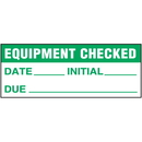 Seton 89922 Machine Safety Write-On Labels - Equipment Checked Date Initial Due