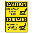 Seton Hot Work Signs - Caution Hot Surface Do Not Touch (Bilingual)