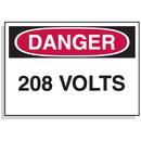 Seton 90306 Baler Safety Labels - Danger 208 Volts