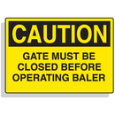 Seton 90315 Baler Safety Labels - Caution Gate Must Be Closed Before Operating